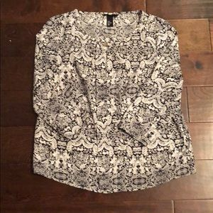 H&M Black and White Blouse with Keyhole